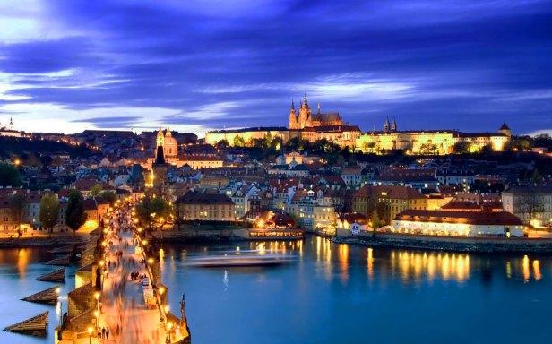 Charles-bridge-Prague-city-lights-and-skyline-at-night